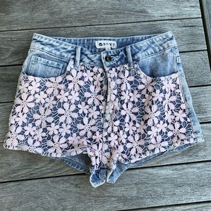 Roxy floral lace shorts